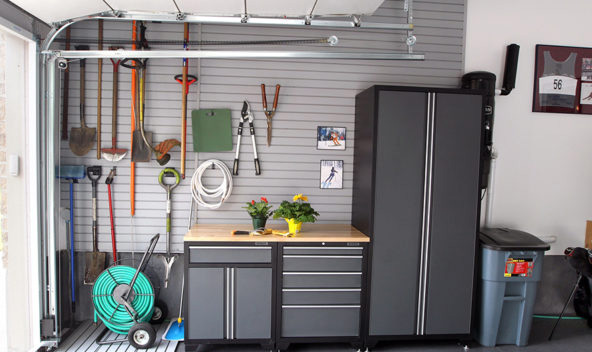 Work surface garage solutions